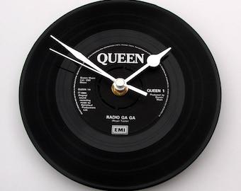 "QUEEN Vinyl Record CLOCK ""Radio Ga Ga"" 7"" single. Freddie Mercury Cool Gift for Men Women Dad Brother Black and Silver"