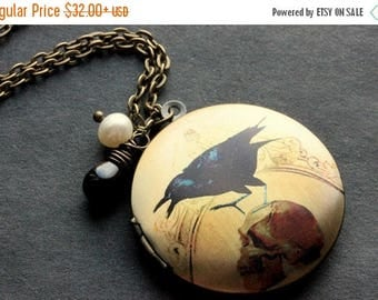 VALENTINE SALE Gothic Raven Locket Necklace. Raven Charm Necklace with Black Teardrop and Pearl. Handmade Jewelry.