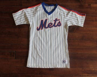 New York Mets jersey vintage MLB baseball 1980s sand knit blank small XS