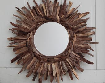 Rustic Live Edge Black Walnut Wood Sunburst Mirror, MADE to ORDER