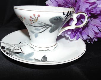 Vintage Antique Unbranded Handpainted Tea Cup and Saucer Blue Gray Flowers Floral Gold Gilt