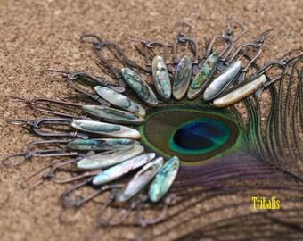 Rustic Abalone Boho *Mysterious Peacock* earrings n.332- artisan shell ocean beach blue . green shades . simplistic . arch . bohemian ocean
