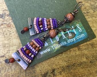 Rustic Jewelry *Alegria Alegria Series* earrings n227- bohemian jewelry . beaded earrings . pink wire wrapped jewelry . pink feminine . boho