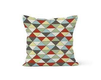 Red Blue Green Triangles Pillow Cover - Dimensions Formica - Lumbar 12 14 16 18 20 22 24 26 Euro - Hidden Zipper Closure
