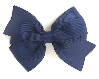 4 inch navy blue hair bow - navy blue bow, 4 inch bows, navy bows, pinwheel bows, girls hair bows, toddler bows, girls bows, hair bows