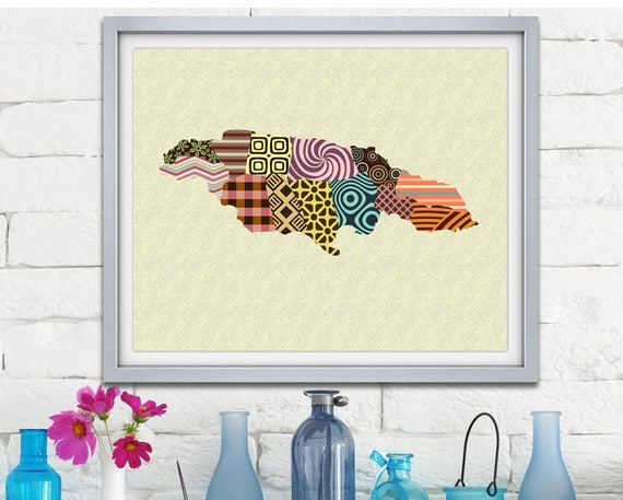 Jamaica Map, Jamaican Art, Jamaican Gift, Jamaica Souvenir, Jamaica Travel Poster Wall Decor, Caribbean art Print