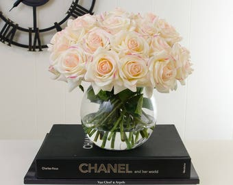 Three (3) Dozens Real Touch Ivory Pink Tipped Roses Bubble Glass Vase Arrangement Artificial Faux Silk Flowers for Home Decor