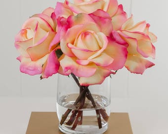 Real Touch Orange Rose Artificial Arrangement Glass Vase Faux Flowers for Home Decor - Silk Arrangement - Pink Centerpiece