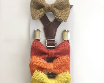 Kahki Bow tie and Suspenders Boys Kids toddler Men tan Bowtie Mens Leather Braces Photo Prop Bow ties Baby Ring bearer Outfit Natural Burlap