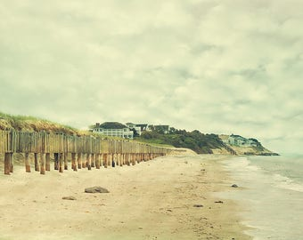 Cape Cod Beach Photograph - shabby chic home decor,  fine art photography, ocean, sky, dunes, travel photo canvas