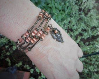 Leaf bracelet, bronze wrap bracelet, peach beaded bracelet, orange jewelry,antiqued bronze bracelet,leaf jewelry,leaves bracelet, easy on