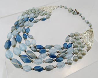 """FREE Shipping Vintage Stunning Blue 5 Strand Beaded Necklace Glass Plastic Glitter Faux Pearls Textured 50s Beads 16"""" Pastel Sky"""