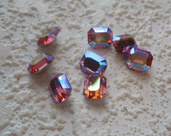 Swarovski Crystal, 10x8MM, Rectangle, Octagon, Rhinestone, Art 176,  Light Rose AB, Pink, Aurore Boreale,  Art 176, Art 4600,