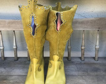 Vintage yellow mustard color boots, womens flat boots, genuine leather suede, studded, cow girl boots, cut unique boots, size 38.5/8