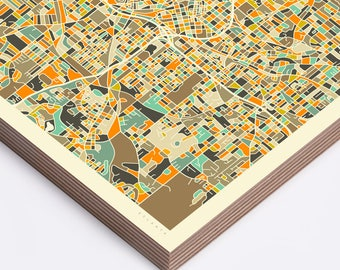 ATLANTA MAP (Ready to Hang, Birch Wood Print for your Home Décor)