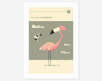 F is for FLAMINGO (Giclée Fine Art Print/Photo Print/Poster Print) by Jazzberry Blue