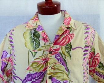 aloha vintage 80's Bishop St. beige cream hawaiian shirt pastel purple pink tropical floral orchid anthurium watercolor print oversize large