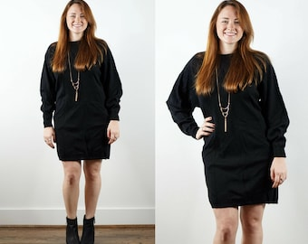 1980s Black Sweater Dress