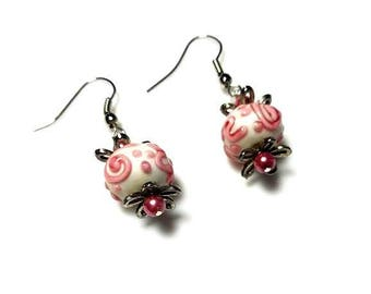 white pink swirls porcelain bead silver earrings pink pearl dangle earrings hypoallergenic nickel free earrings playful drop beaded jewelry