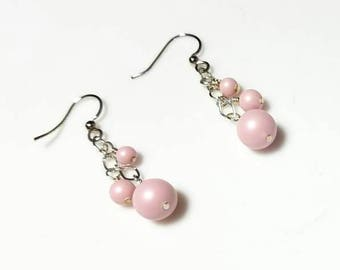 pink Swarovski crystal pearl cascade earrings hypoallergenic earrings nickel free earrings waterfall cascading dangle earring beaded jewelry