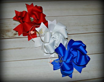 Set of 3 Boutique Style Bows / Red Bow / White Bow / Blue Bow / Hairbow / Hair Bow / Bow Bundle / 4th of July Bows / Patriotic Bows