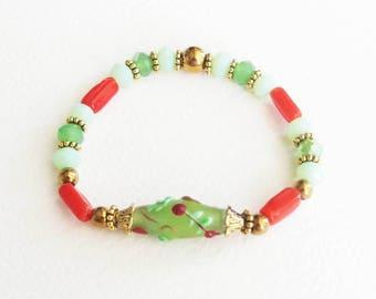 Bracelet Romantique avec Pierres de Gemmes - Comme dans un jardin - Pierre Hématites, Perles Verre Lampwork - Bijou créateur en pièce unique