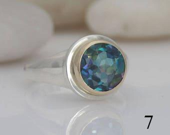 Rainbow topaz (mystic topaz) ring, size 7, #480.