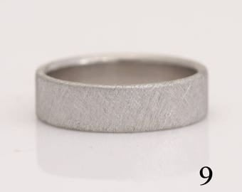 Palladium ring, 950 Pd wedding band, size 9 or custom sizes, cross-hatch texture, #790.