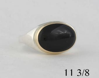 Men's onyx ring, 18 x 13mm onyx, sterling silver and 14k yellow gold, size 11 3/8, #81.