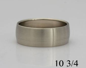 Wide 14k white gold band, size 10 3/4, #493.