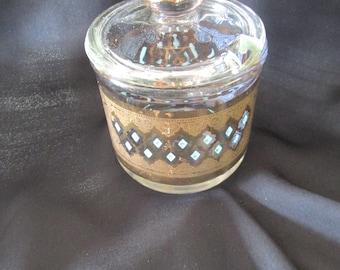 Jeanette glass jam jelly condiment jar, Sevilla design, barware