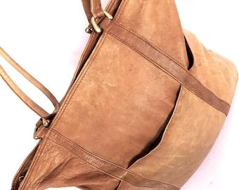LG Hobo Bag Chestnut Leather, Large Hippie Boho Tote, Light Brown Leather Shoulder Bag, Soft Leather Tote, Graffeo Leather Tote Large