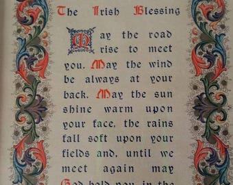 Vintage Irish Blessing Verse Print Wall Hanging