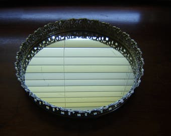 Vintage round mirror tray filigree gold metal edge wedding table centerpiece vanity tray jewelry perfume tray