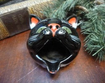 Vintage 1950's Black Cat Shafford Redware Cat Head AshTray  (T)