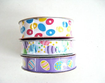 Set of 3 non-wired Easter ribbon, Easter ribbon, Easter craft ribbon, Easter egg ribbon