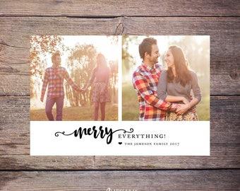 Merry Everything Holiday Photo Card, 2 Photos Christmas Card, Merry Christmas, Printable File