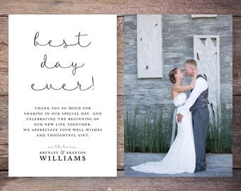 Best Day Ever Wedding Photo Thank You Cards, Printable or Printed Wedding Thank You, Photo thank you cards, personalized thank you –Brynley