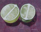Limes, Still Life Fine Art Print, Lime Green, Magenta, Kitchen Decor