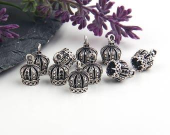 Antique Silver, Crown Tassel Cap, Crown Cone Cap, Crown Bead Cap, 10 pieces // SF-101