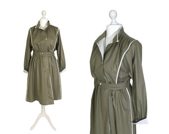80's Utility Style | Large | Industrial Style 1980's Vintage Dress | Khaki Green With White Trim