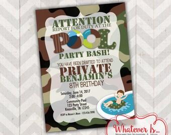 Army Pool Party Bash Birthday Printable Invitation