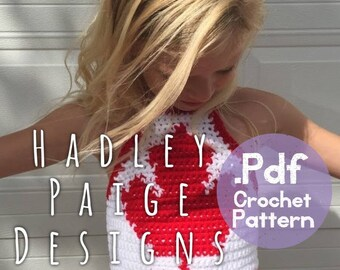 Canadian pride MAPLE LEAF halter/crop top. Crochet Pattern 2-10yrs.  Hadley Paige Designs. Children's size 5-10yrs. Boho kids.  Canada Day.