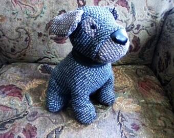 Dapper Doggy Doorstop, Tweed Suit, bookend, Stuffed Dog, Morgan Collection
