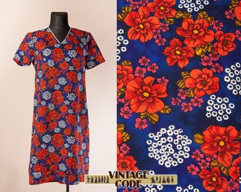 Blue Red floral  60s 70s short sleeve dress / Vibrant colorful dress / Psychedelic Mod Hippie Boho dress / Extra Large Plus