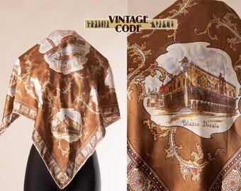 Satin Venice Venezia souvenir scarf /  Vintage Venice Venezia scarf / Gift for her / 80s 90s Venice souvenir