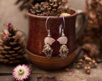 Boucles ours quartz rose tourmaline . Marcheurs du printemps renaissant .