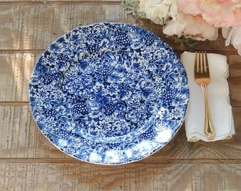 W.H. Grindley Promesse English Transferware Dinner Plate Blue White, Cake Plate Blue White Transferware