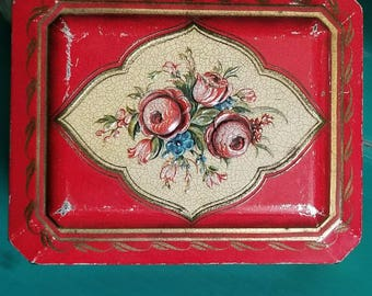 Vintage Red Tin Hinged Lid / Made in Holland /Lid Features Roses / Gold Scroll On All 4 Sides