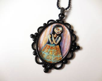 Illustrated Jewelry – Fairytale Jewelry - Art Pendant - Statement Necklace - Large -  Ornate - Unique - sarahdonnell